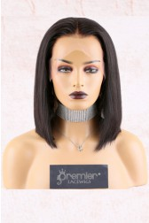 "13""x6"" Lace Frontal Wig,Middle Part Yaki Textured Bob,150% Thick Density   [Pre-Bleached Knots,Pre-Plucked Hairline,Removable Elastic Band]"