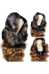 """Blonde Highlights Ombre Wavy Human Hair 13""""x6"""" Lace Frontal Wig [Pre-bleached knots,Pre-plucked hairline,Removable elastic band]"""