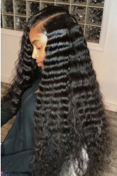 """Deep Wave 6"""" Deep Part Lace Frontal Wig [ Pre-Bleached Knots,Pre-Plucked Hairline,Removable Elastic Band]"""