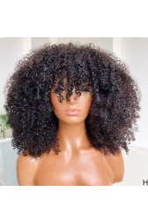 """Kinky Coily Hair Wigs Blunt Bob with Bangs and Real Scalp 3.5""""×3"""" Silk Top, Indian Remy Human Hair 16 inches"""