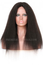 Affordable Real Scalp Silk Base Middle Part Wig Kinky Straight Indian Remy Hair