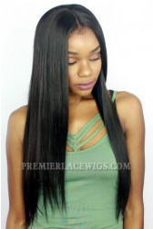 Silky Straight Indian Remy Hair Glueless Lace Front Wigs