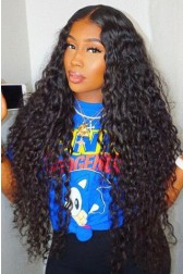 "250% Density Big Bomb Hair Loose Curly 13""x4"" Lace Frontal Wig Indian Remy Hair,Medium Brown Lace"