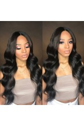 Eva--Super Thin Transparent HD Lace, Body Wave Indian Remy Human Hair Lace Wig [Pre-bleached knots only for natural color, Pre-plucked hairline, Removable elastic band]