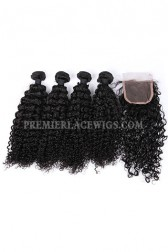 Water Wave Virgin Indian Human Hair Extension A Lace Closure With 4 Bundles Deal