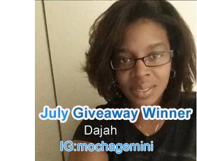 July Giveaway Winner