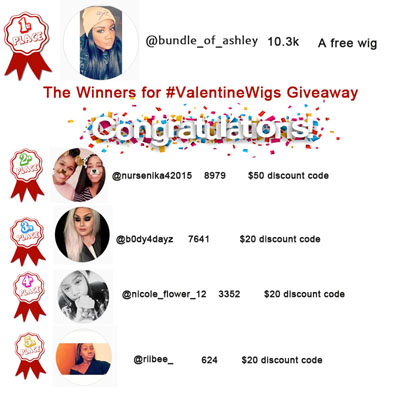 The winners for #ValentineWigs Giveaway
