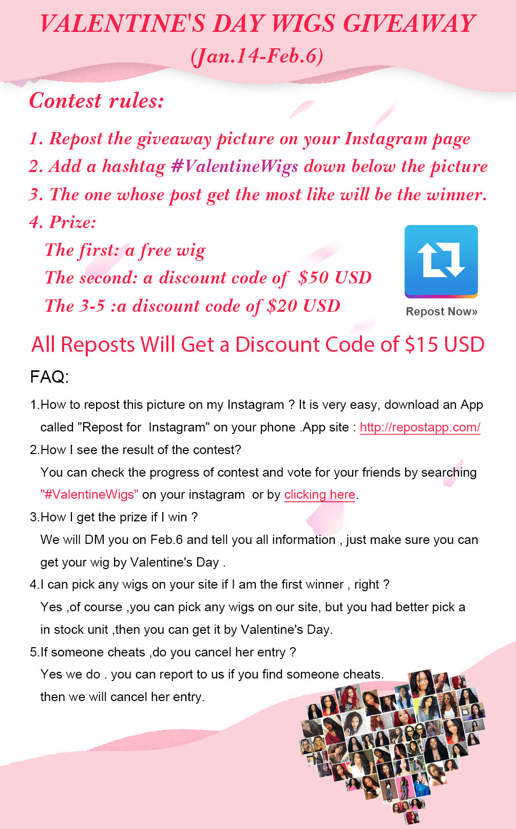Valentine's day Wigs Giveaway